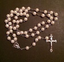 Catholic Glass Pearl rosary beads  with silver plated cross crucifix