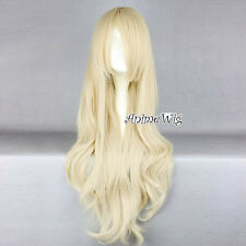 Lolita Style Anime Long Curly Stylish Lady Light Blonde Cosplay Hair Full Wig