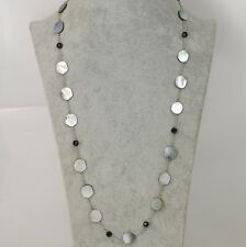 Retired Lia Sophia jewelry Long Mother of Pearl Shell Night Oasis Necklace