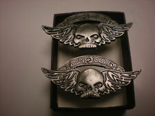 2 HARLEY DAVIDSON ***** WINGED SKULL  ***  PEWTER PINS  BEAUTIFUL FANTASTIC