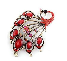 Vintage Amazing Bronze & Red Turquoise Rhinestones Peacock Brooch Pin BR102
