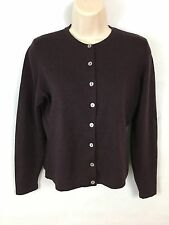 100% Wool Laura Ashley Womens Cardigan Crewneck Button Front Purple M Made In UK