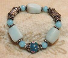 Blue Rose Wedding Cake Murano Bead Stone ? Bead Stretch Bracelet Designer ?