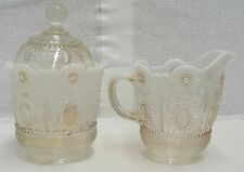 NORTHWOOD JEWEL & FLOWER OPALESENCE CREAMER AND SUGAR BOWL