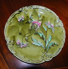 WONDERFUL ROYAL BONN LARGE ART NOUVEAU MAJOLICA ASTRA PLATE DONE IN WILD FLOWERS