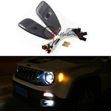(2) Amber LED Lights Side Marker Covers Lamps Update Kit For 15-up Jeep Renegade