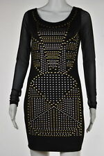 2B Bebe Womens Black Studded Body Con Dress Sz M Long Sleeve Above Knee