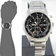 Casio AMW330D-1AV 100M Analog Diver Watch Black Dial Steel Band Chronograph
