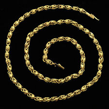 "Vintage 14K Solid Gold Handmade Fancy Filigree Bead Links Chain /Necklace 20"" L"