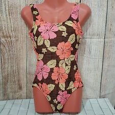 Brown with Peach CATALINA Floral One Piece Swimsuit Size 4/6 Medium to Large