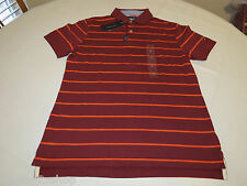 Mens Tommy Hilfiger Polo shirt M Stripe 7865306 Cordovan 602 burgandy Custom Fit