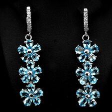 Sterling Silver 925 Stunning Genuine Pear Swiss Blue Topaz Dangle Earrings