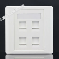 Wall Socket 4 Port Network LAN Three CAT6 RJ45 & RJ11 Telephone Panel Faceplate
