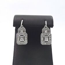 New Deco Style Ciemme 10k White Gold Round Baguette Dangle Diamond Earrings