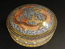 LOVELY VINTAGE JAPANESE HAND PAINTED & ENAMELED  LIDDED BOWL DRAGON DESIGN