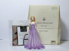 ROYAL DOULTON FIGURINE FEBRUARY AMETHYST GEMSTONE COLLECTION BOXED HN 4971