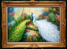 "Handmade Oil painting Animals Two peacocks in the trees art on canvas 24""x36"""