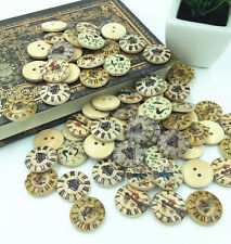 20PCS 2 Holes Mixed clock pattern Wooden Buttons Fit Sewing and Scrapbook 20mm