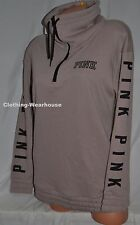Victoria's Secret PINK Brown Black Cowl Neck Half Zip Pullover Sweatshirt XS NEW