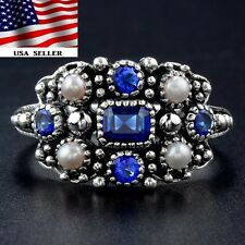 1CT Blue Sapphire & Seed Pearl 925 Solid Sterling Silver Filigree Ring Sz 7