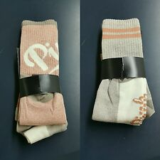 BNWT-Victoria Secret PINK Pink/Beige/Cream Calf Length Crew Socks X2 (One Size)