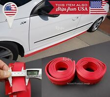 2 x 8 FT Red EZ Fit Bottom Line Side Skirt Lip Trim Extension Rock Panel For BMW