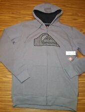 NWT QUIKSILVER Men's Dixon Full Zip Hoodie Sweatshirt Sherpa Lined Jacket Grey M