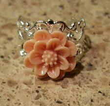 Vintage Peach - Flower Silver Filligree Steam Punk Ring - Beautiful