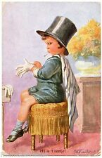 illustrateur signé . Enfant, chapeau haut de forme .Cigarette.  Child, top hat