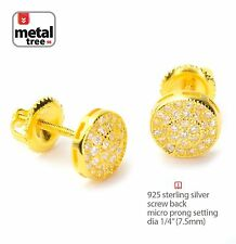 925 Silver Yellow Gold Plated Micro Pave Round Screw Back Stud Earring 452G