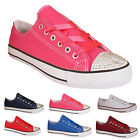LADIES WOMENS FLAT GIRLS PLIMSOLLS PUMPS TRAINER DIAMANTE CANVAS SHOES TRAINERS
