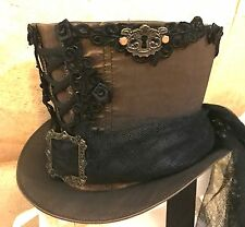 Lo Steampunk Pizzo & Serratura Top Hat Con Netto Nero Train & Rose in Taglia 60cm