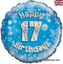 """18"""" BLUE HOLOGRAPHIC FOIL BALLOON """"HAPPY 17TH BIRTHDAY"""" CELEBRATION PARTY"""