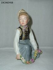 ROYAL COPENHAGEN OF DENMARK AMAGER BOY WITH FLOWER GARLAND FIGURINE #C12414