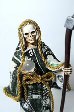 "9"" Santa Muerte Grim Reaper Money Deth Skull Skelleton Statue Figurine With Seth"