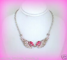 OCTOBER BIRTHSTONE PRETTY ROSE PINK CRYSTAL SILVER ANGEL WING NECKLACE PENDANT