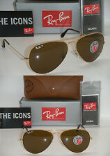 RAY BAN AVIATOR 3025 GOLD FRAME BROWN POLARIZED RB 3025 001/57 62MM LARGE NEW