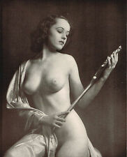 1930's Vintage Alfred Cheney Johnston Female Nude & Mirror Art Deco Photo Print