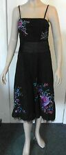 Teatro Size 8 Black Sun Dress with Floral Embroidered, Sequined & Beaded Design
