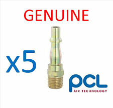 """5 x Genuine PCL 1/4"""" Male Adaptor Air Line Fittings"""