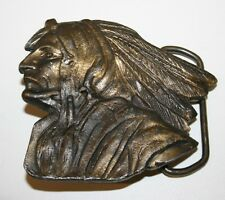 Indian Chief Head Shaped 1970s Brass Tone Vintage Belt Buckle RARE