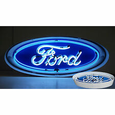 Neon sign Dealership Ford Oval  in metal can V8  lamp Mancave Car garage light