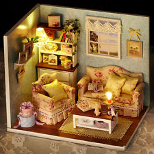 """DOLLHOUSE MINIATURE DIY KIT W/ LIGHTS, """"HAPPY LIFE SERIES"""",ONE FROM 4 STYLES"""