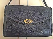 Vintage Hand Tooled Black Leather Purse, Shoulder Bag  Mexico