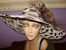 "BROWN OFF WHITE Wide Brim Hats Derby Horse Race Hat 22 1/2"" Circumference"