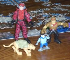 Lot of 4 unidentified action figures, military, animated, DC comics, cat