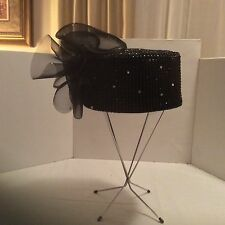 Church Hat Dazzling Black Pillbox