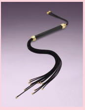 AGENT PROVOCATEUR LEATHER CAT WHIP BLACK / GOLD BNWT Valentine's Day Must-Have