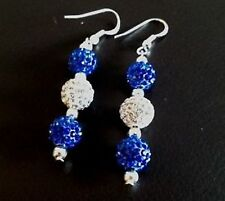 SHAMBALLA BLUE& WHITE DROP EARRINGS WITH 3 CLAY CZECH CRYSTAL DISCO BEAD-UK SELL