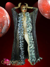 Sheer iridescent sequined silver ruffled Drag Queen Showtime gown Coat